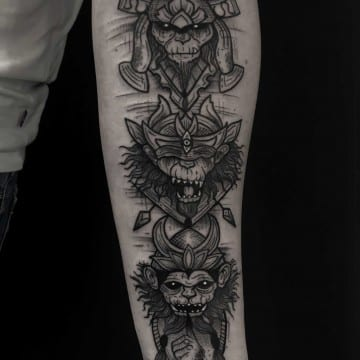 monkey graphic tattoo