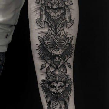 monkey graphic tattoo