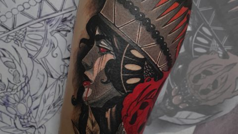 neotradicional face tattoo
