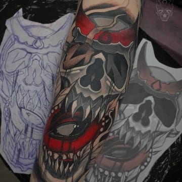 neotradicional skull tattoo