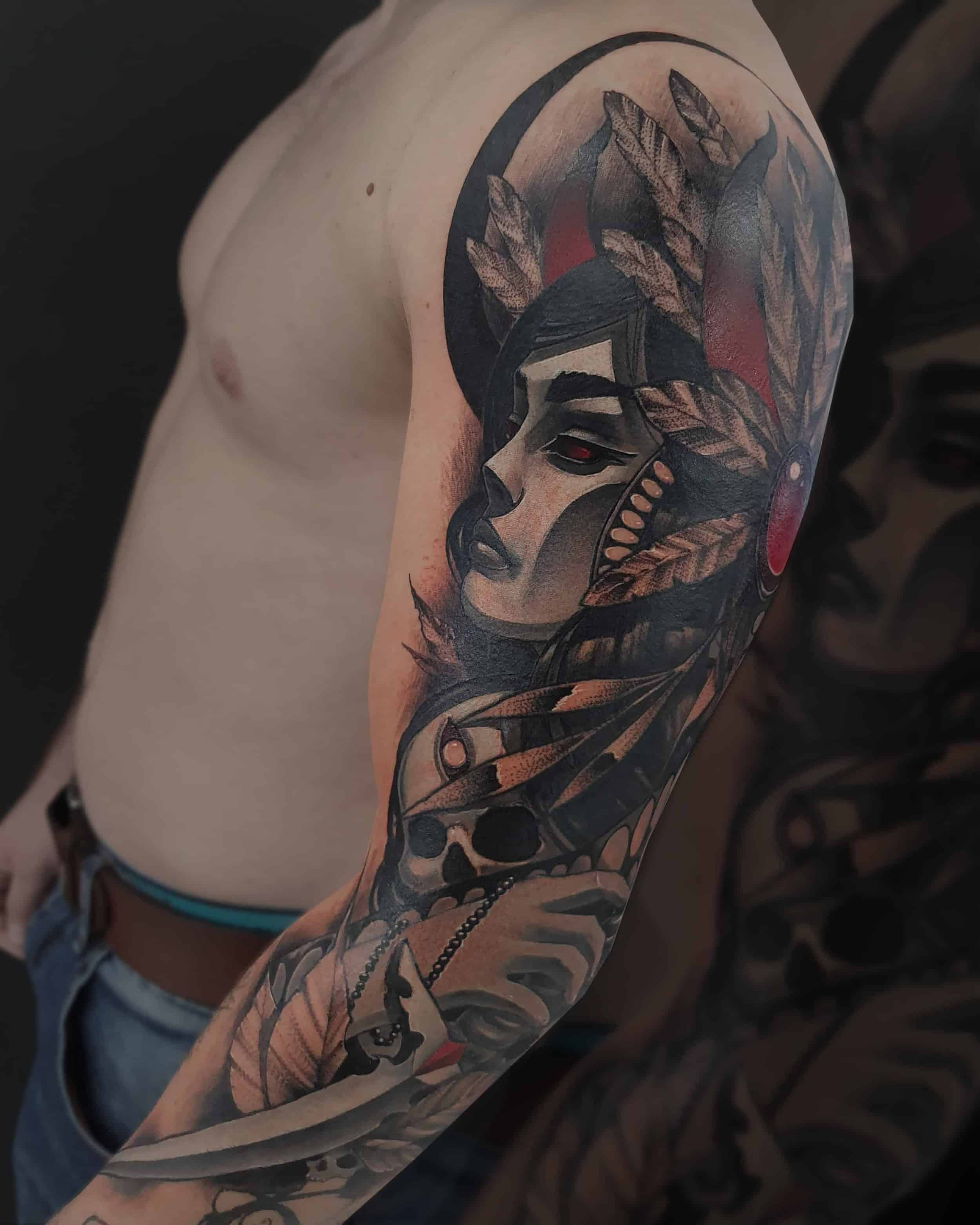 neotradincional sleev tattoo