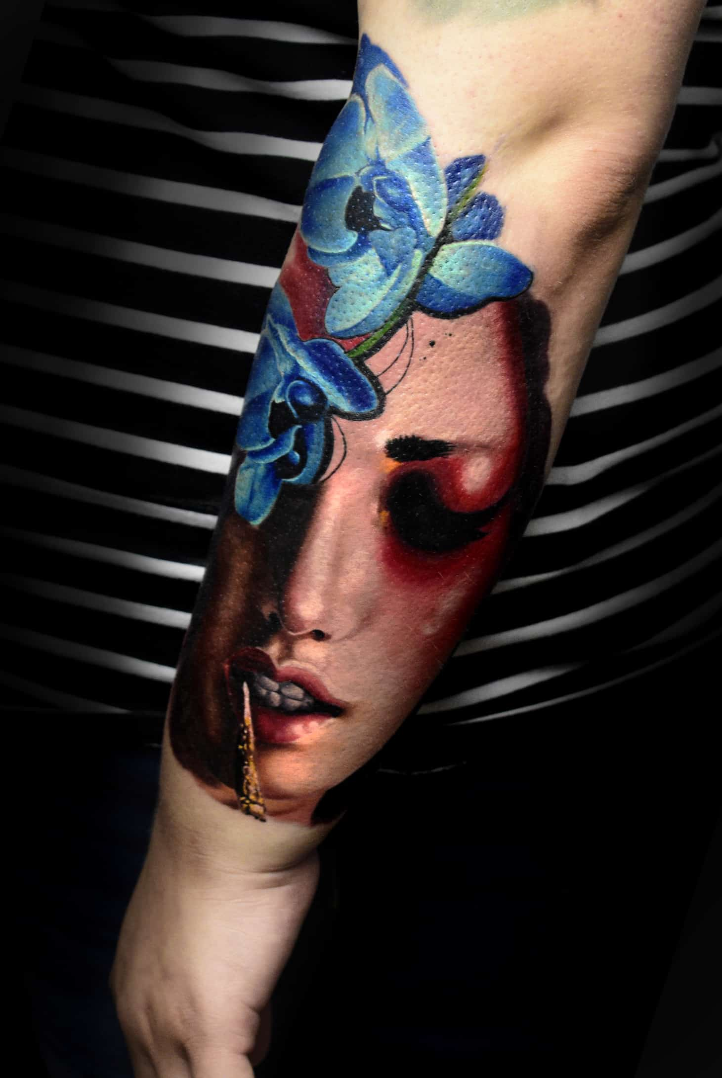 realistic face color tattoo