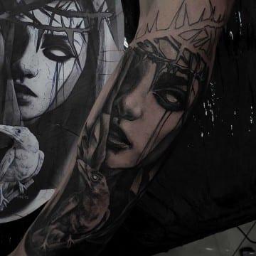 realistic face tattooo