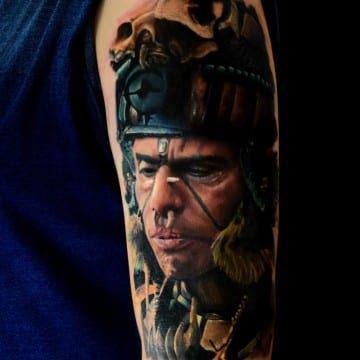 realistic color aztec tattoo