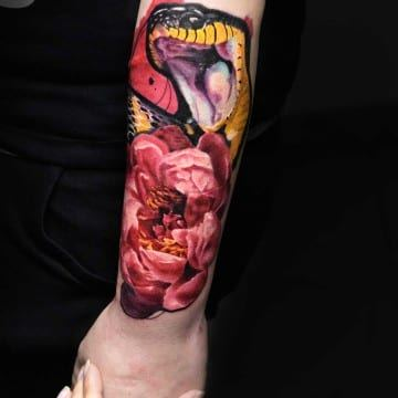 realistic color snake tattoo