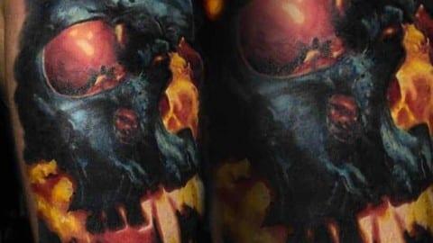 cover up tatuaż czaszka