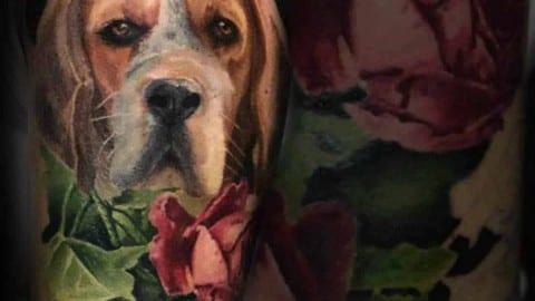 portret psa tatuaż realistyczny