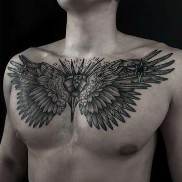 skrzydła graficzny tatuaż