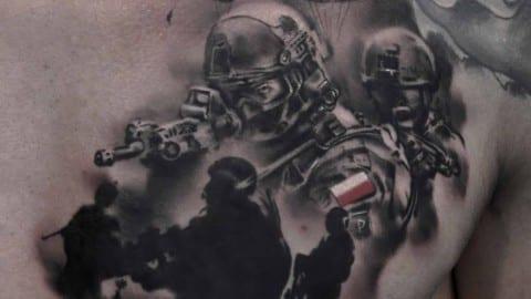 tatuaz czarnoszary armia