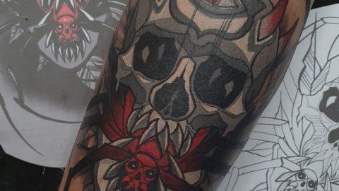 czaszka tatuaż neotrad