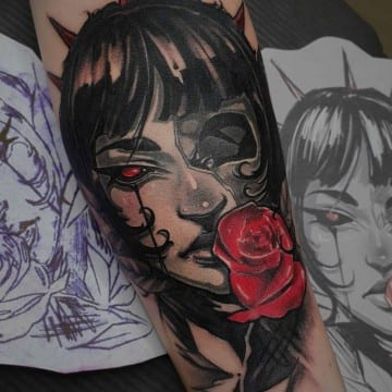 neotradycyjny tatuaz mroczny