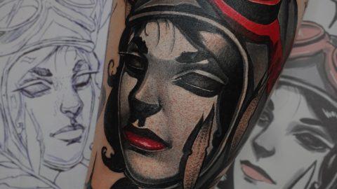 neotradycyjny tatuaz portret 5