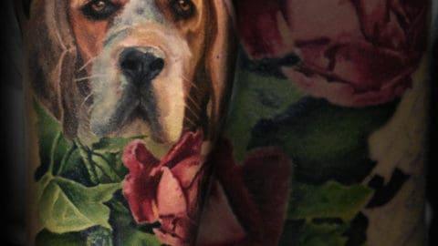 portret psa realistyczny tatuaz