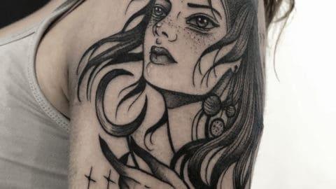 tatuaż graficzny portret