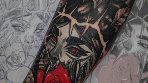 tatuaż neotradycyjny kompozycja