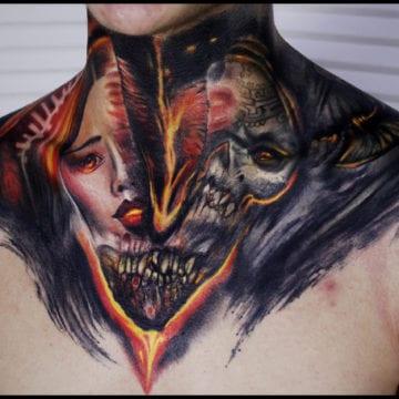 tatuaż na szyi realistyczny kolor
