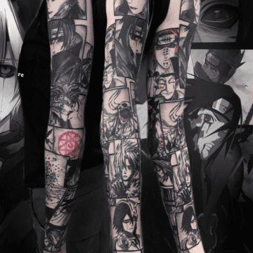tatuaż rękaw neotradycyjny szary