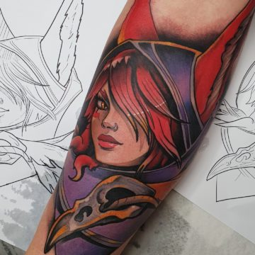 neo-tradycyjny tatuaz kobieta