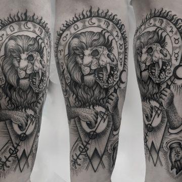 tatuaz lew graficzny