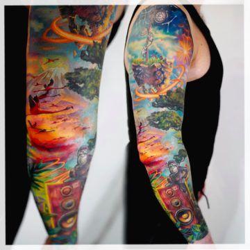 tatuaz rekaw kolorowy